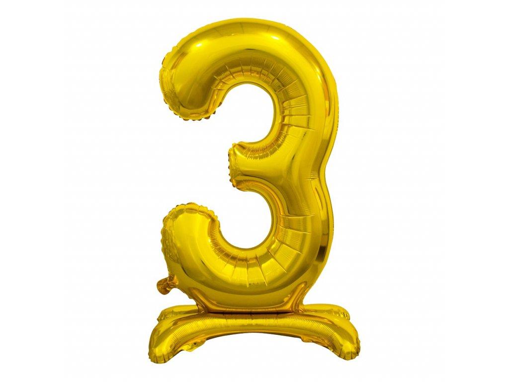 balonek foliovy cislo stojici 3 74cm zlaty metal BC ASZ3 1