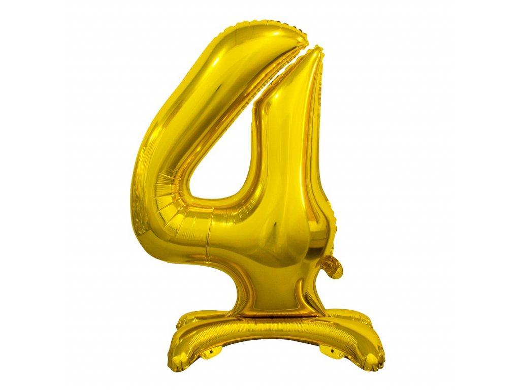 balonek foliovy cislo stojici 4 74cm zlaty metal BC ASZ4 1