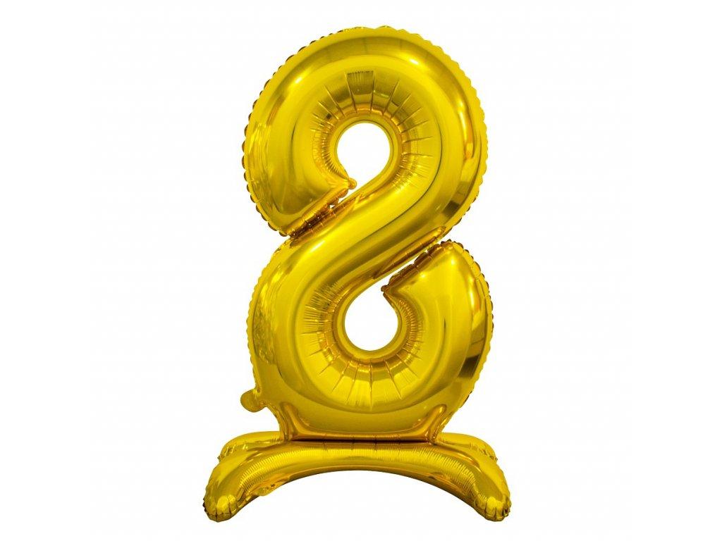 balonek foliovy cislo stojici 8 74cm zlaty metal BC ASZ8 1