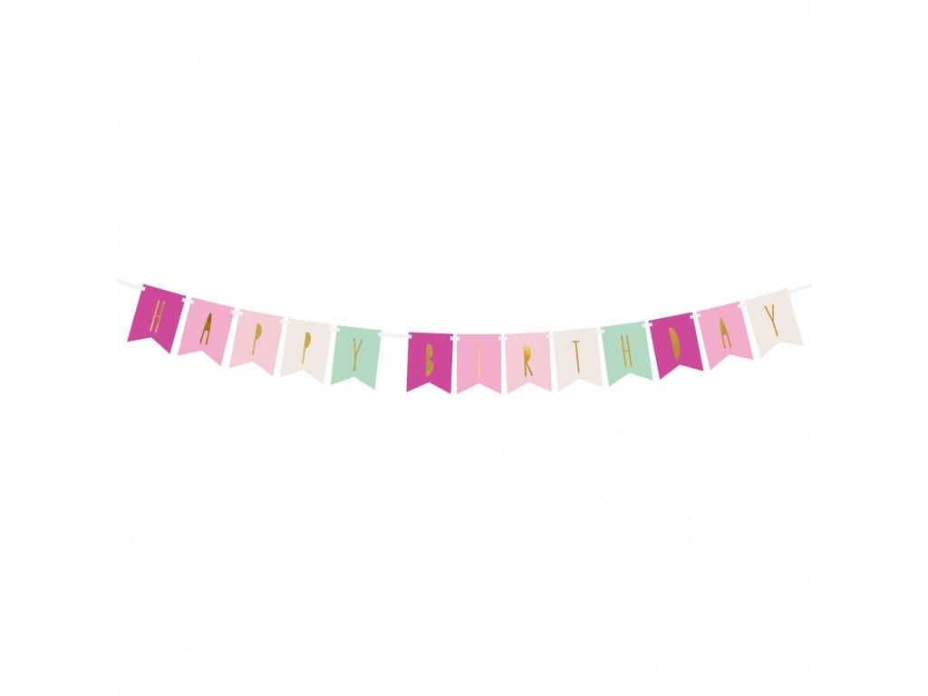 banner happy birthday mix barev 11,5x140cm GRL58 01