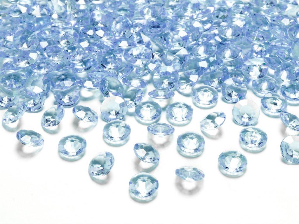 Konfety na stůl nebesky modré diamanty 12 mm, 100 ks