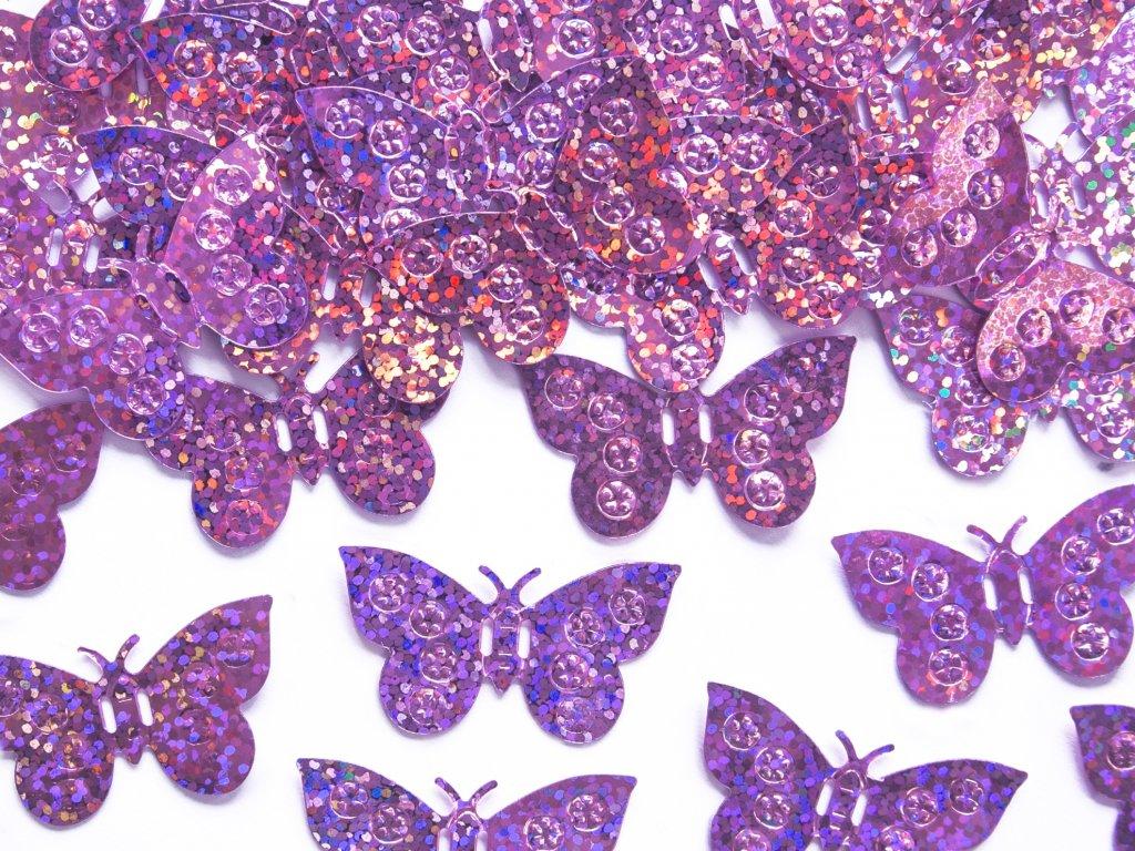 konfety motylci holograf světle růžové 15g KONS32 081 01