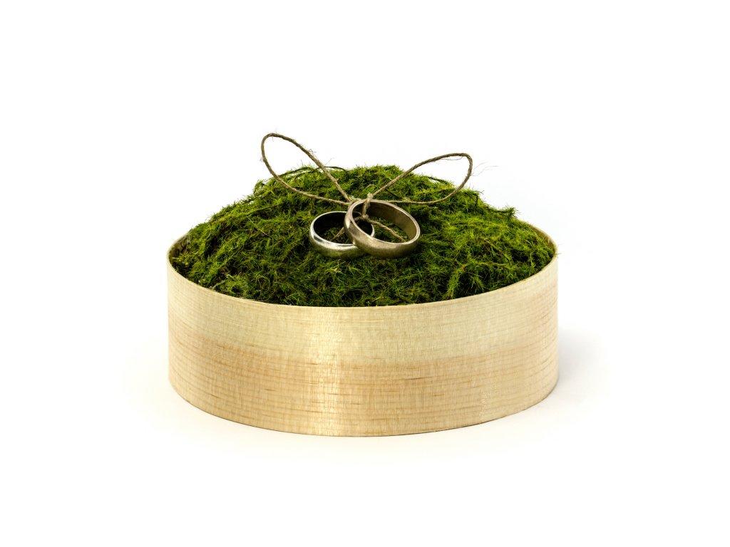 Dřevěná krabička na snubní prstýnky s mechem 12 cm