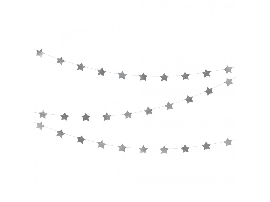 girlanda hvezdy stribrne 3,6m GLS8 018M 01