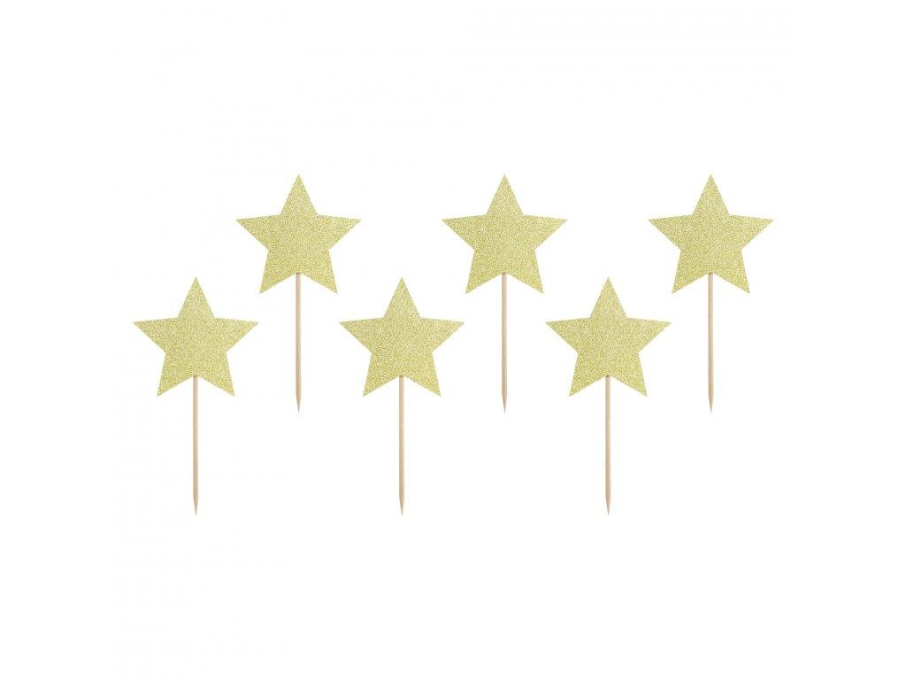 zapichy dortu hvezdy zlate 11,5cm KPM19 019B 01