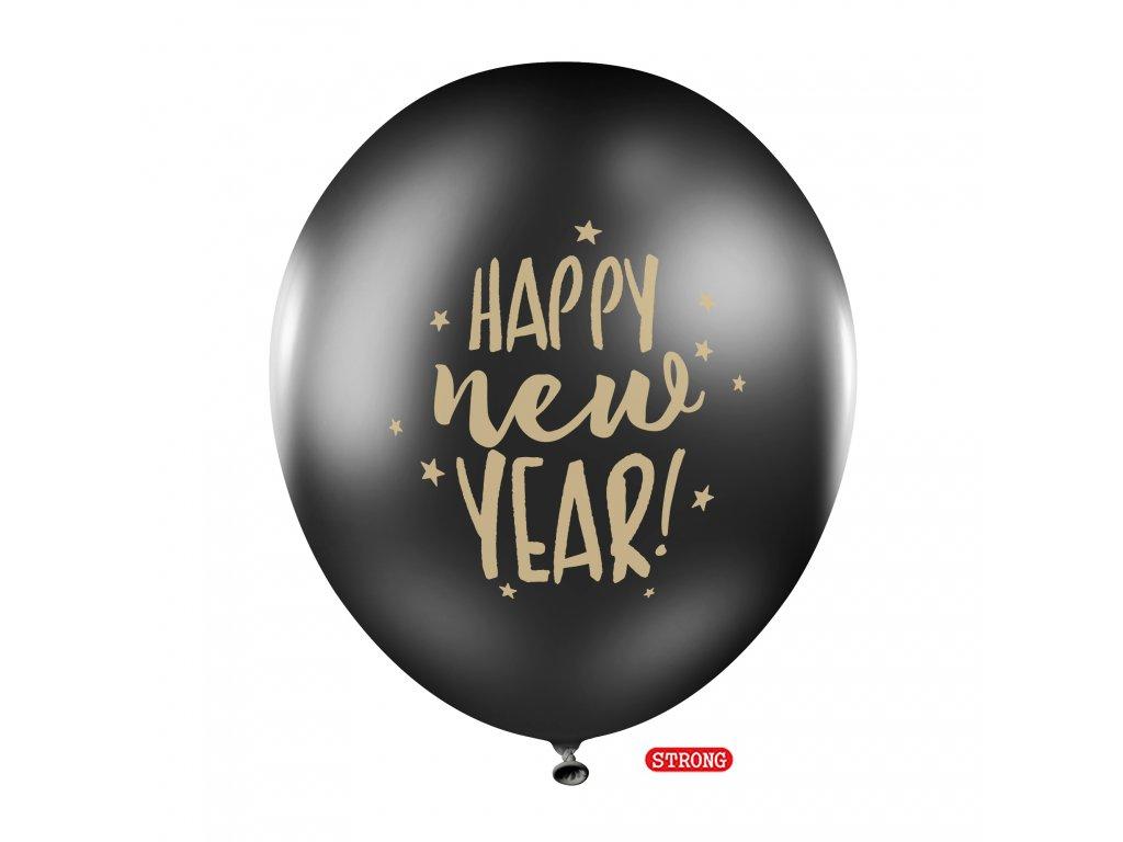 balonek silny pastel Happy New Year cerny 30cm SB14P 201 010 01