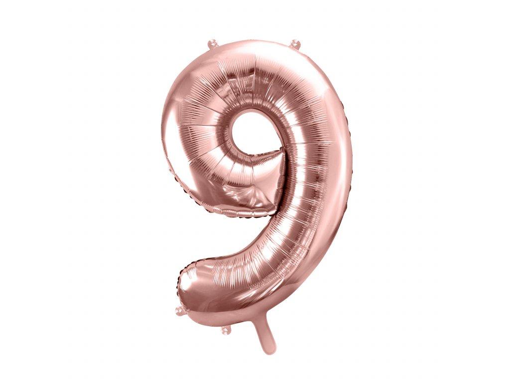 balonek cislo 9 ruzovo zlate 86cm FB1M 9 019R 01