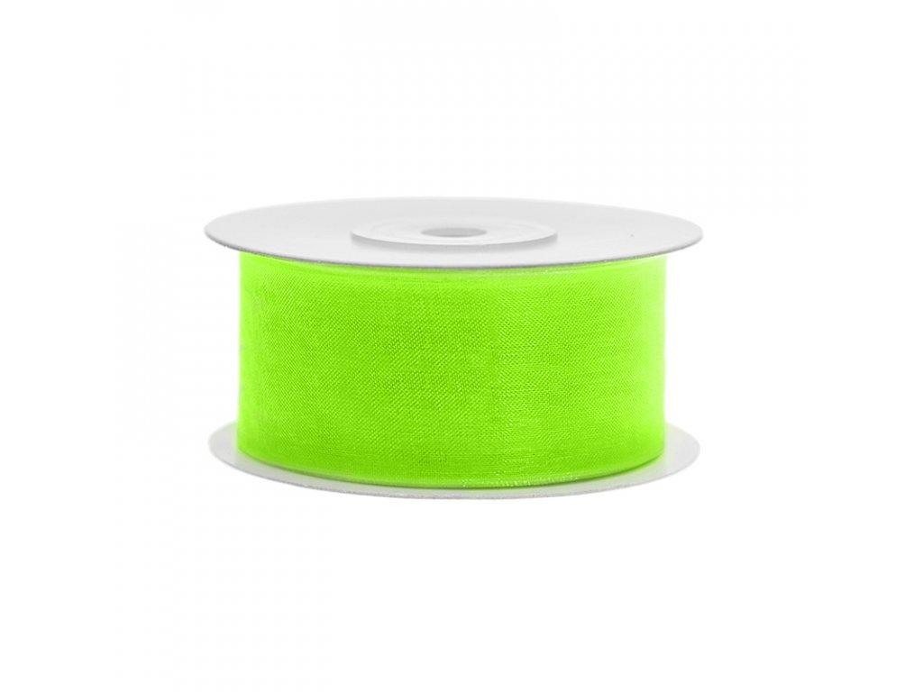 stuha sifonova neon zelena 38mm 25m TSZF38 101JN 01