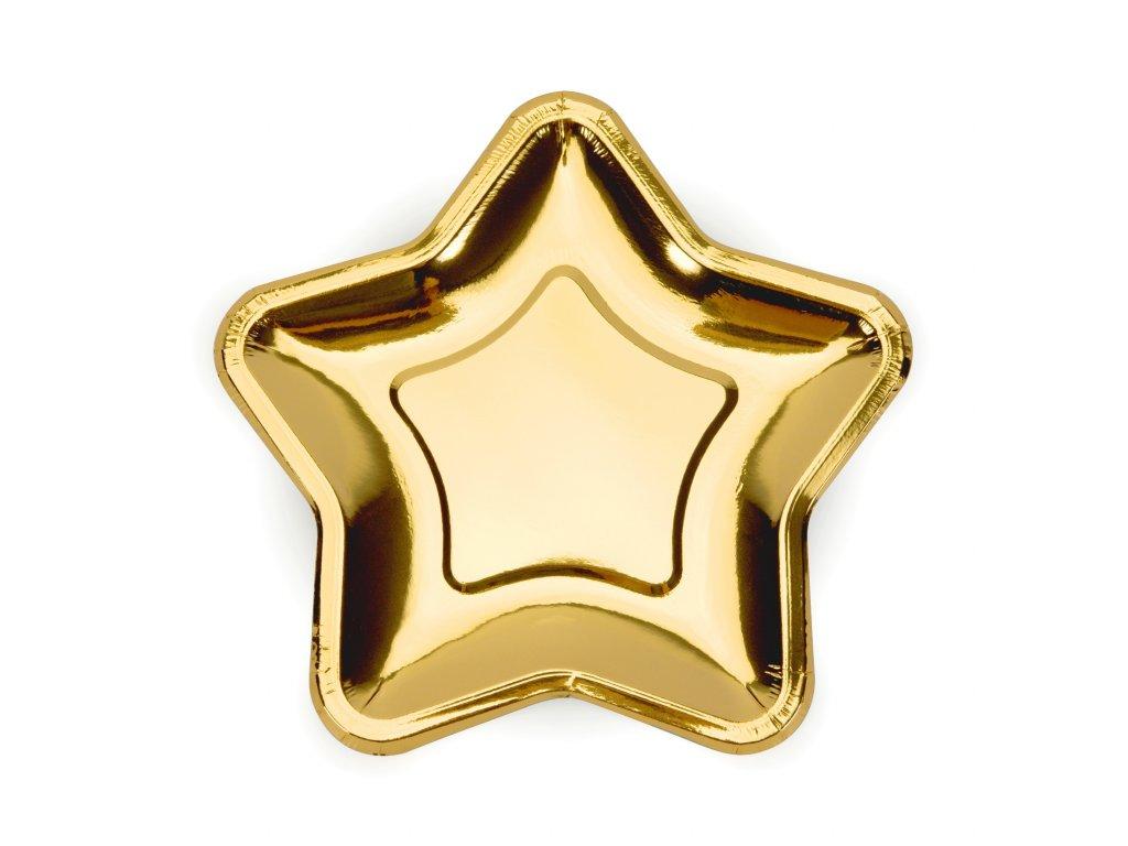 papir talir hvezda zlata 18cm 6ks TPP11 019 01
