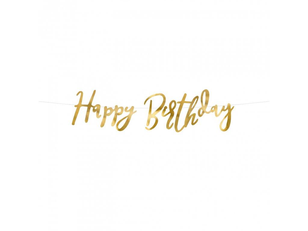 banner happy birthday zlaty 16,5x62cm GRL75 019M 01