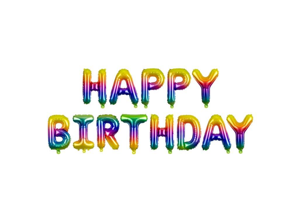 foliove balonky happy birthday mix duha FB71 01