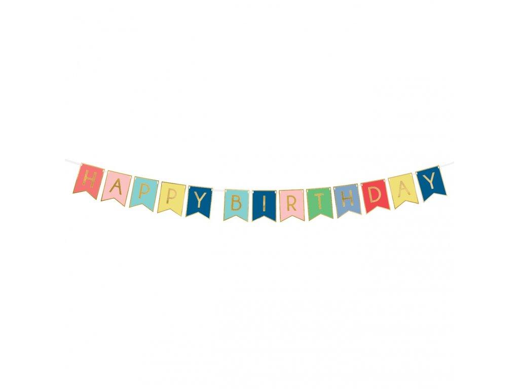 banner happy birthday mix zlaty lem 15x175cm GRL56 01
