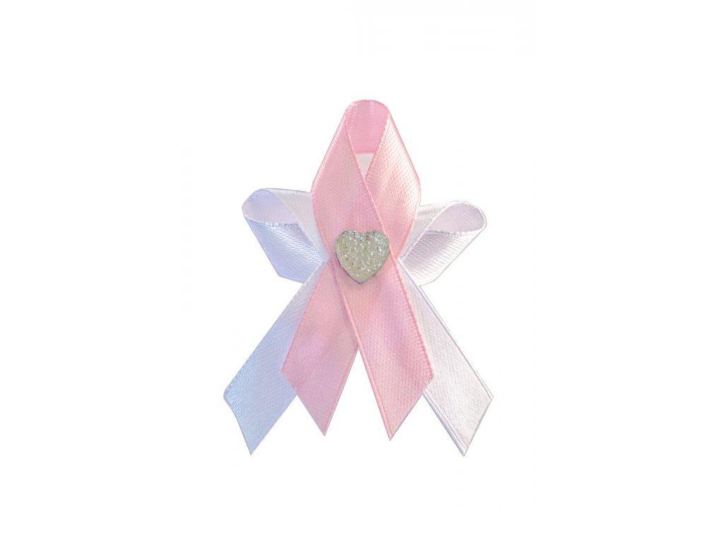 Svatební vývazek bílo-růžový se srdíčkem 222241