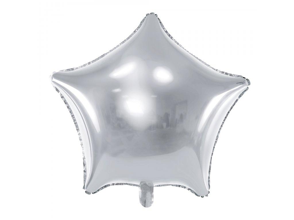 foliovy balonek stribrna hvezda 48cm FB3M 018 01