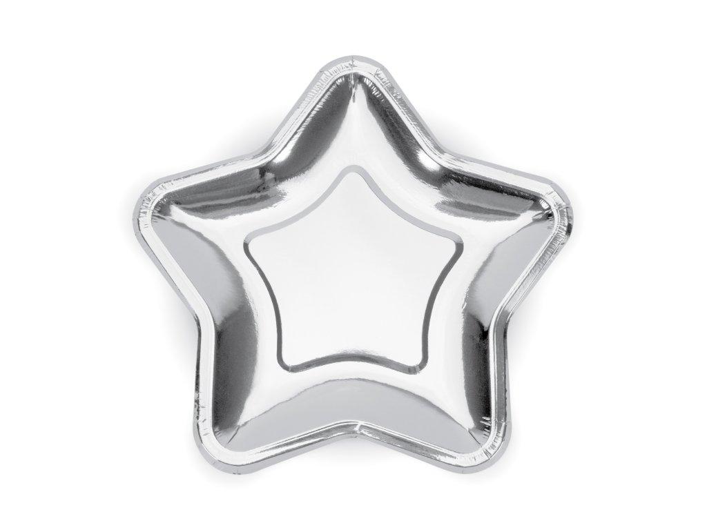 papir talir hvezda stribrna 18cm 6ks TPP11 018 01