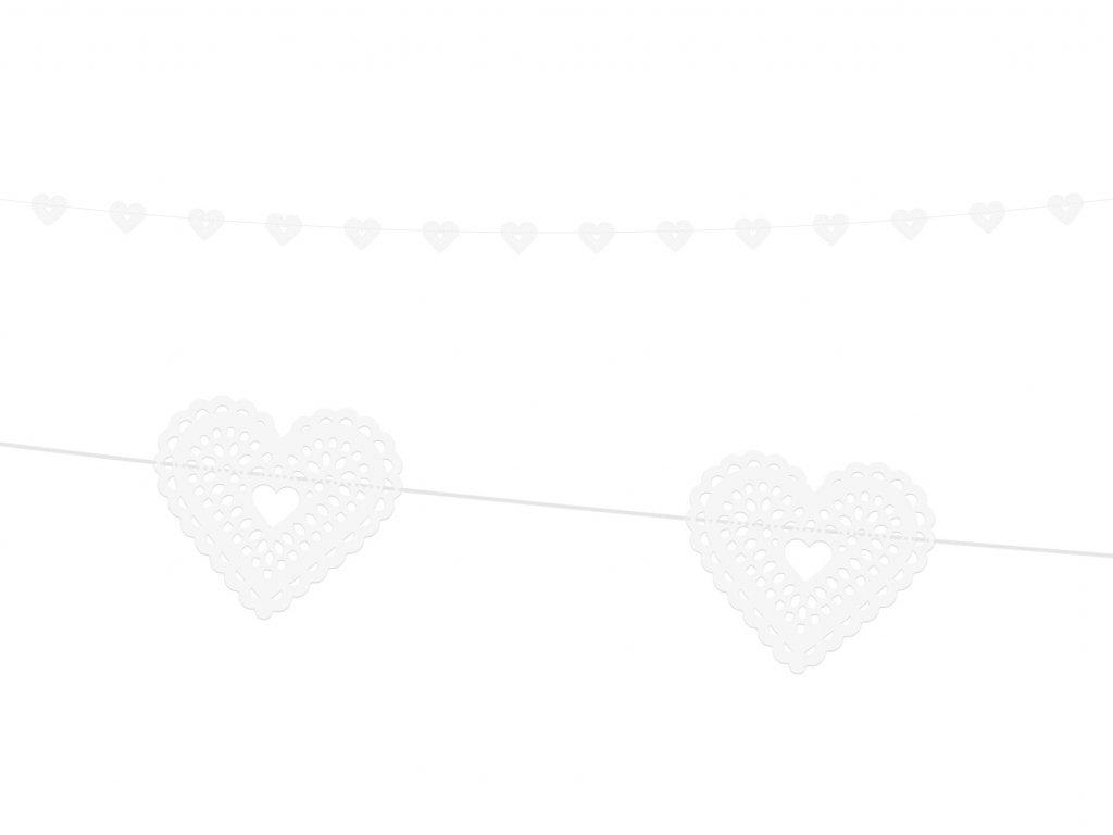 girlanda srdce bila 1,8m GL23 008 01