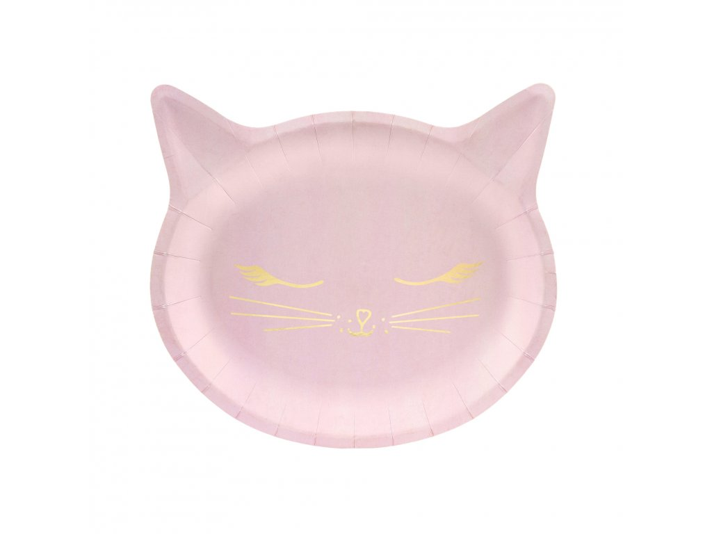 Talíře papírové světle růžová kočka 22x20 cm, 6 ks