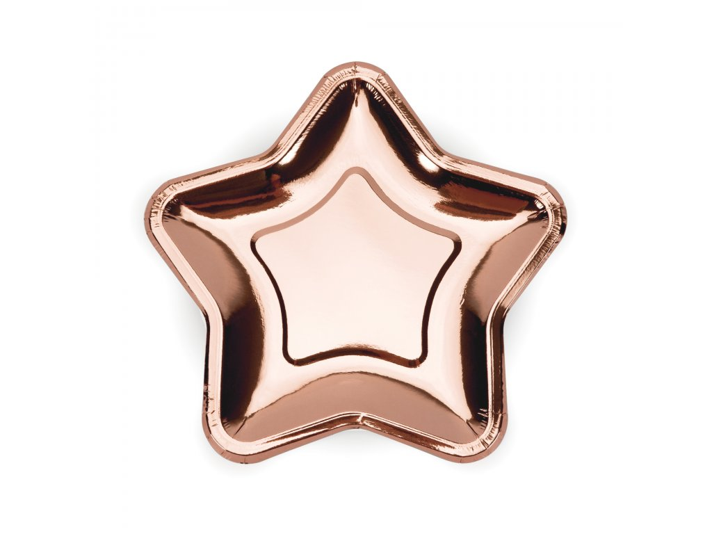 papir talir hvezda ruzovo zlata 18cm 6ks TPP11 019R 01
