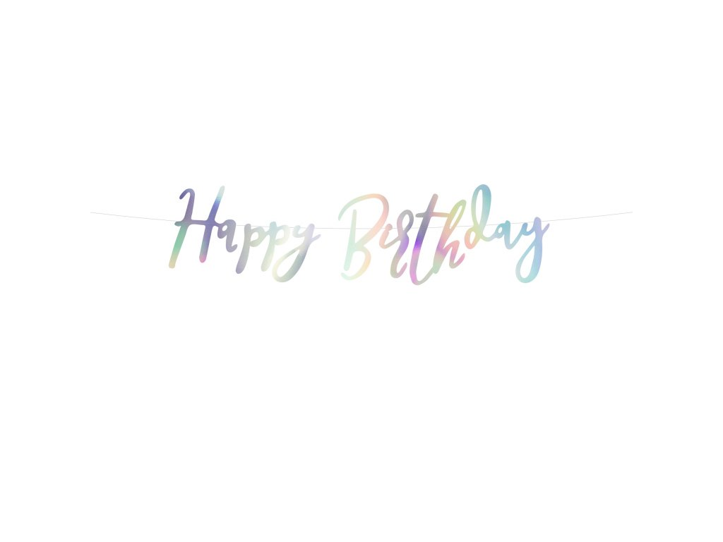 banner happy birthday duhovy 16,5x62cm GRL75 017 01