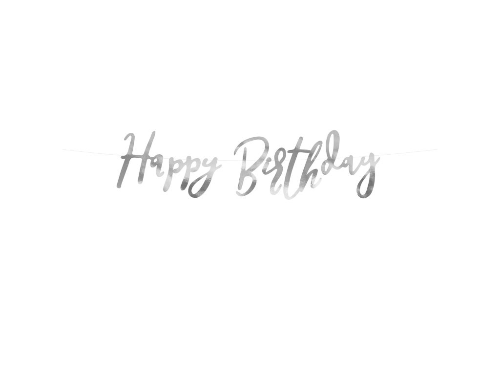 banner happy birthday stribrny 16,5x62cm GRL75 018M 01
