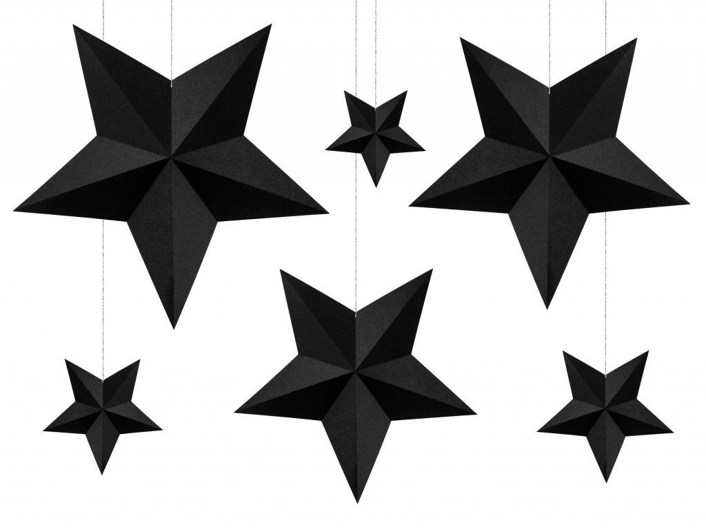 zavesne papirove cerne hvezdy 6ks DWG1 010 01