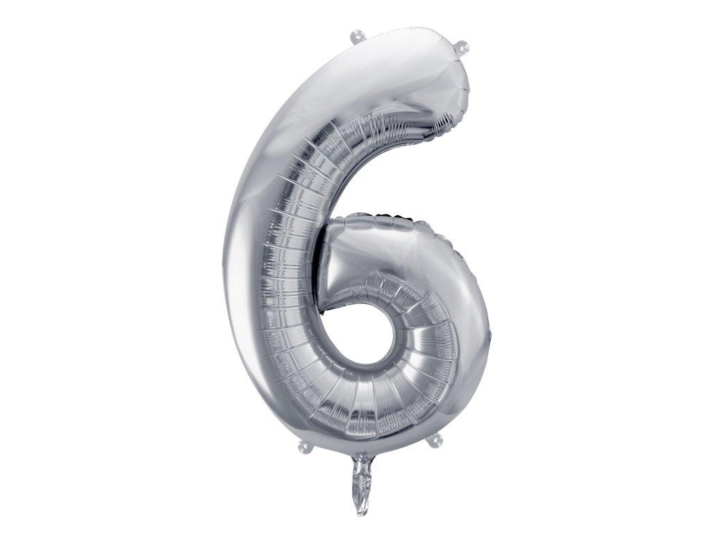 balonek cislo 6 stribrny 86cm FB1M 6 018 01