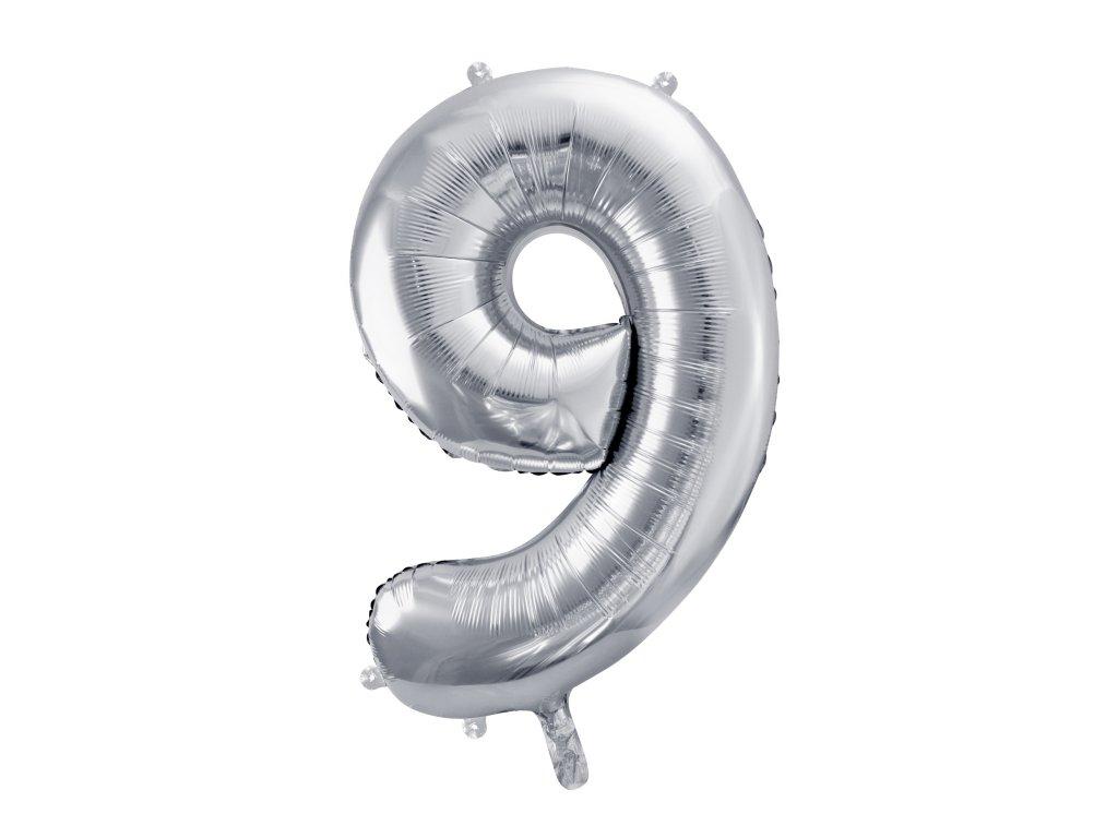 balonek cislo 9 stribrny 86cm FB1M 9 018 01