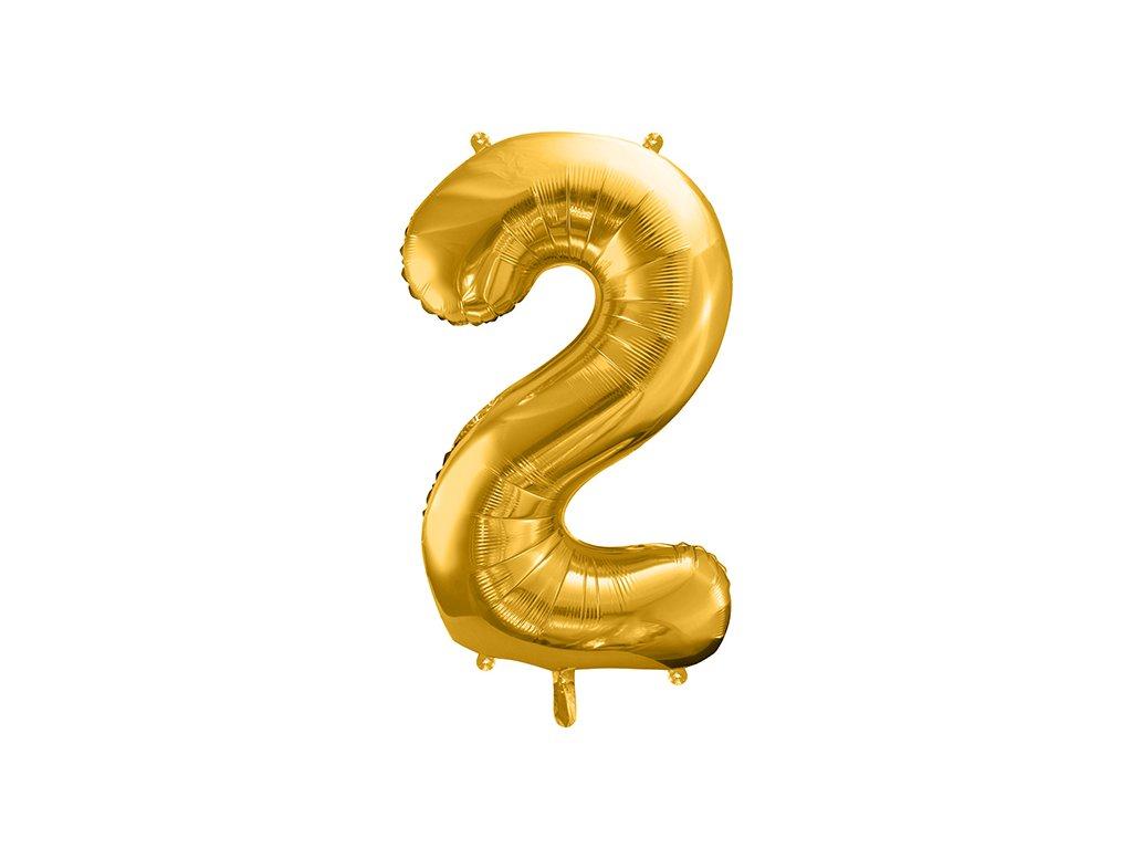 balonek cislo 2 zlaty 86cm FB1M 2 019 01