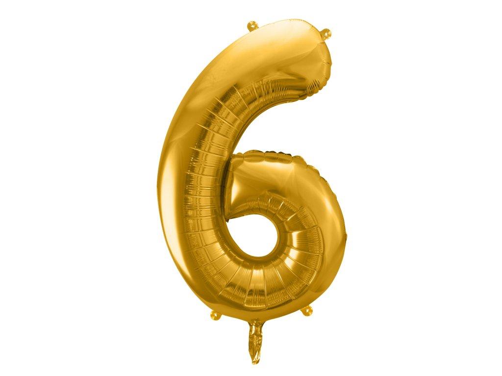 balonek cislo 6 zlaty 86cm FB1M 6 019 01