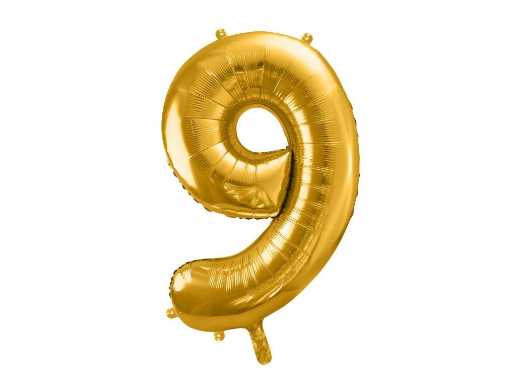 balonek cislo 9 zlaty 86cm FB1M 9 019 01