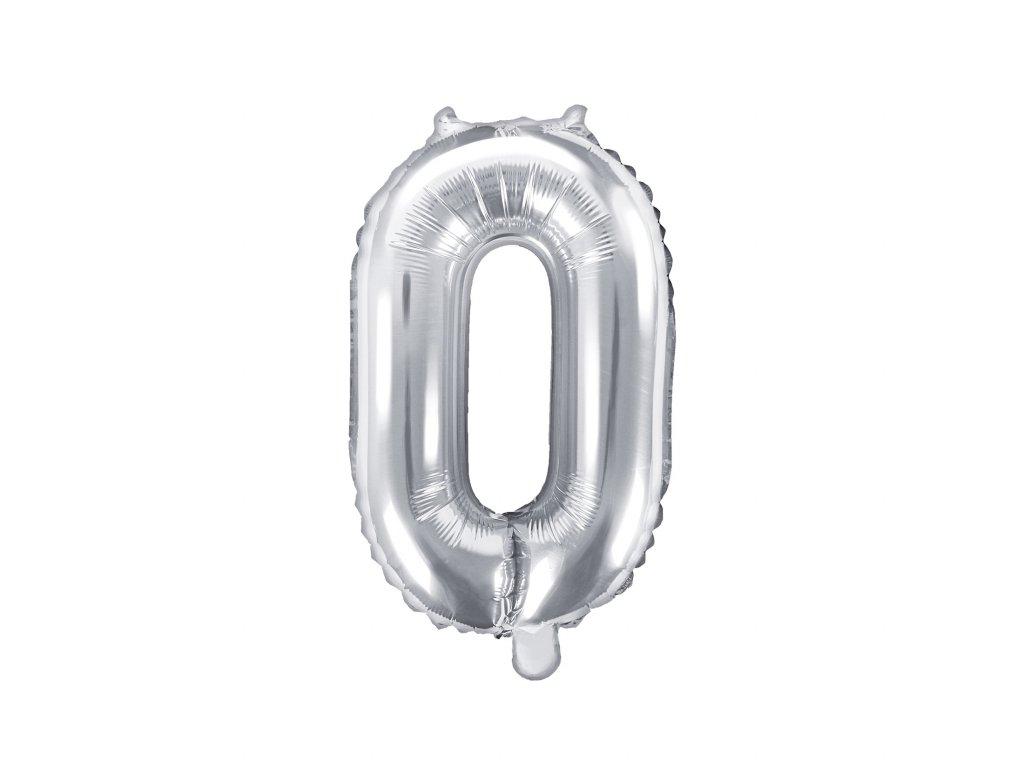 balonek cislo 0 stribrny 35cm FB10M 0 018 01
