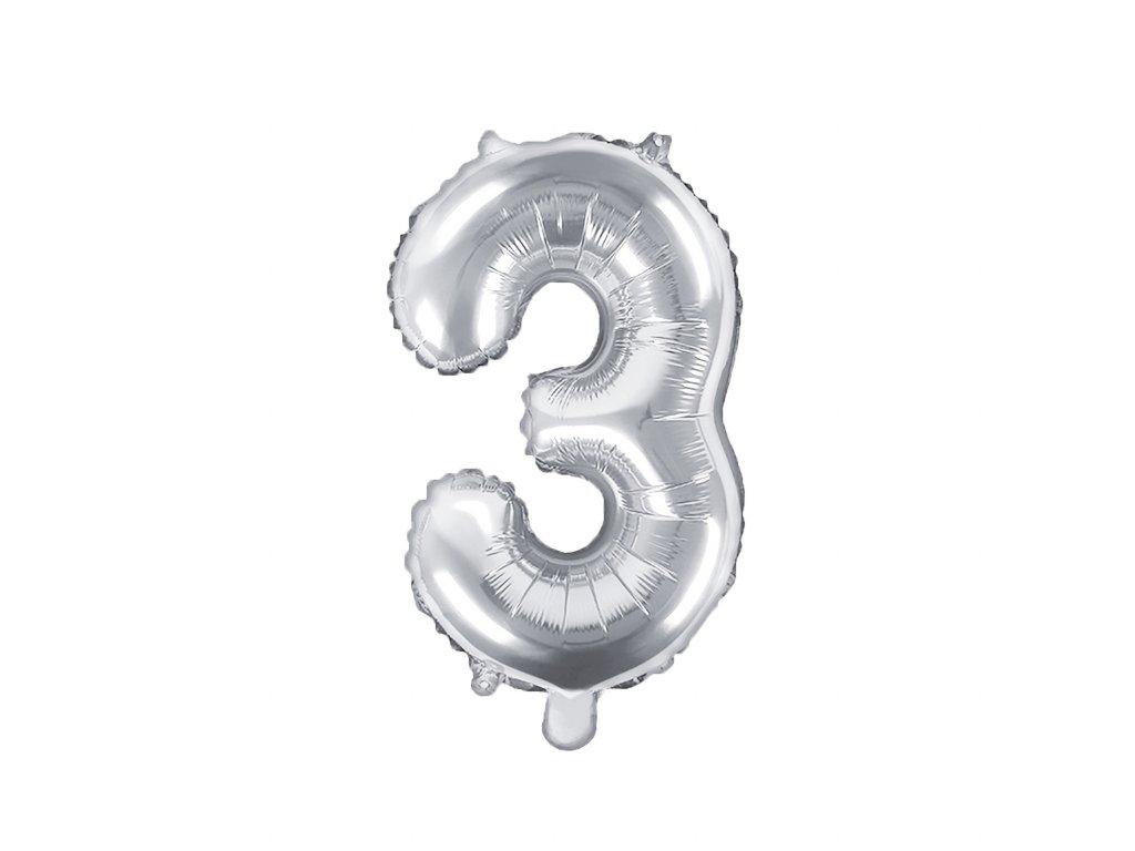 balonek cislo 3 stribrny 35cm FB10M 3 018 01