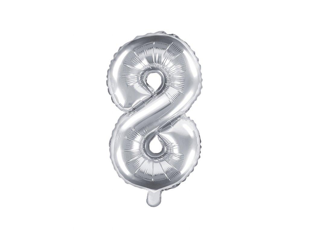 balonek cislo 8 stribrny 35cm FB10M 8 018 01