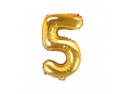 balonek cislo 5 zlaty 35cm FB10M 5 019 01