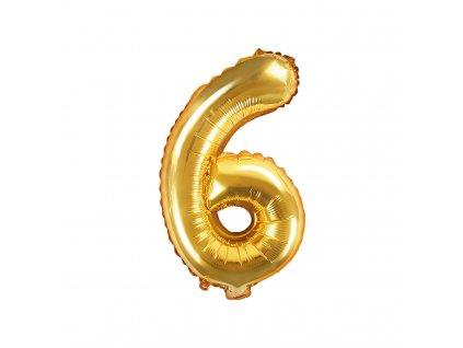 balonek cislo 6 zlaty 35cm FB10M 6 019 01