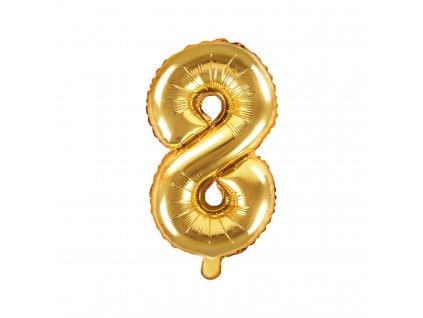 balonek cislo 8 zlaty 35cm FB10M 8 019 01