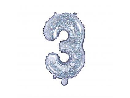 "Balónek fóliový číslo ""3"" holografický, 35 cm"