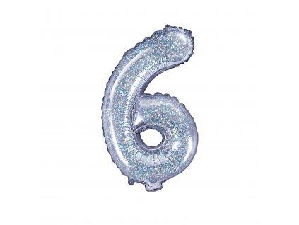 balonek cislo 6 holograficky 35cm FB10H 6 018 01