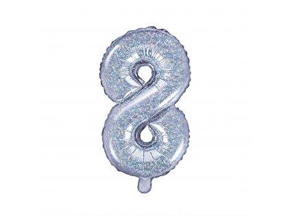balonek cislo 8 holograficky 35cm FB10H 8 018 01