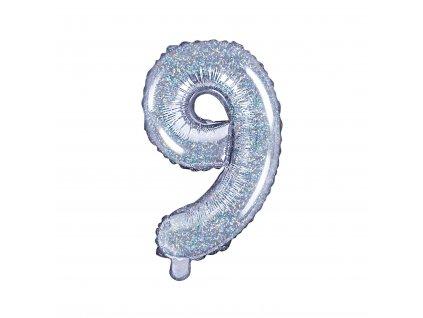 balonek cislo 9 holograficky 35cm FB10H 9 018 01