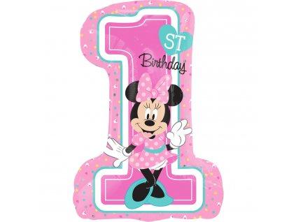 foliovy balonek Minnie 1 narozeniny 48x171cm 3435201
