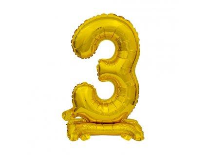 balonek foliovy cislo stojici 3 38cm zlaty metal BC ATZ3 1