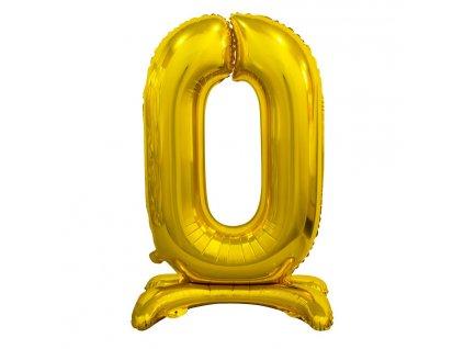 balonek foliovy cislo stojici 0 74cm zlaty metal BC ASZ0 1