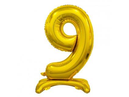 balonek foliovy cislo stojici 9 74cm zlaty metal BC ASZ9 1