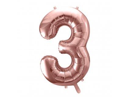balonek cislo 3 ruzovo zlaty 86cm FB1M 3 019R 01