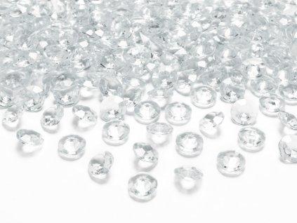 Konfety na stůl čiré diamanty 12 mm, 100 ks