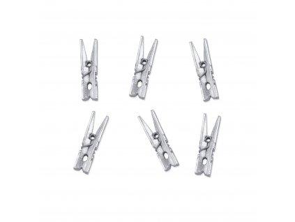 Kolíčky dřevěné stříbrné 3 cm metalické, 20 ks