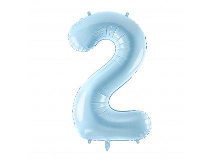 balonek cislo 2 svetle modry pastel 86cm FB1P 2 001J 01