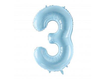 balonek cislo 3 svetle modry pastel 86cm FB1P 3 001J 01