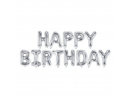 foliove balonky happy birthday silver FB6M 018 01